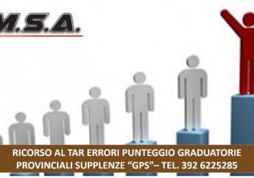 """RICORSO AL GDL ERRORI PUNTEGGIO GRADUATORIE PROVINCIALI SUPPLENZE """"GPS"""""""