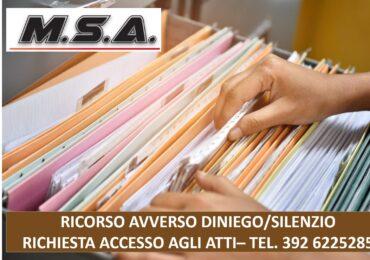 RICORSO (GRATUITO) AVVERSO DINIEGO/SILENZIO RICHIESTA ACCESSO AGLI ATTI