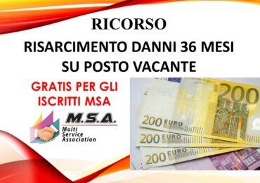 RICORSO AL GIUDICE DEL LAVORO RISARCIMENTO DANNI 36 MESI SU POSTO VACANTE (GRATUITO)
